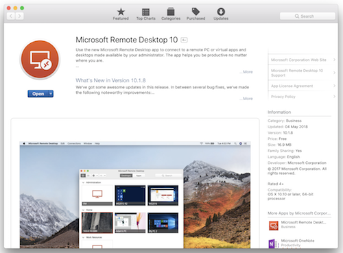 Mac OS App Store Microsoft Remote Desktop Application
