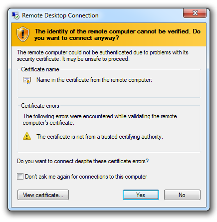 Windows 8 RDP certificate