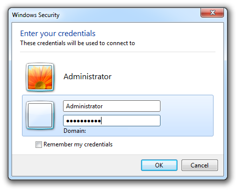 Windows 8 Remote Desktop Connection credentials